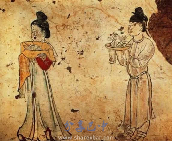 唐代章怀太子李贤墓内侍女手捧盆景的壁画