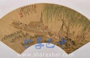 吴铣江边渔家乐图扇页